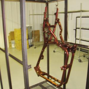 motorcycle frame in lava black